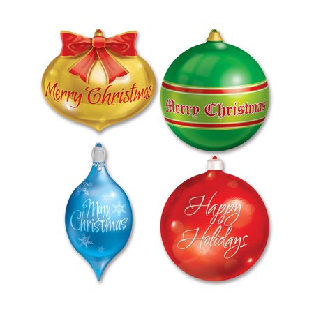 Christmas Cutouts (Set Of 4 Christmas Ornament Cutouts Holiday Party Decorations)