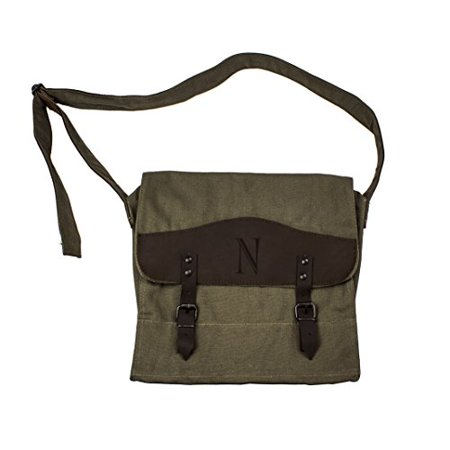 Personalized Olive - Cathy's Concepts Personalized Canvas and Leather Messenger Bag, Monogrammed Letter N, Olive