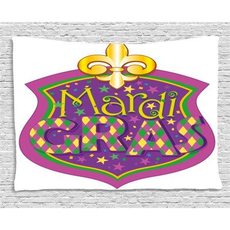 Mardi Gras Tapestry, Blazon Design Festive Mardi Gras Inscription and Fleur de Lis Symbol, Wall Hanging for Bedroom Living Room Dorm Decor, 60W X 40L Inches, Purple Yellow Green, by