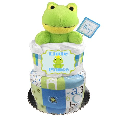 Frog Diaper Cake for a Boy - Baby Shower Gift - Baby Shower Table Centerpiece - Newborn Gift Idea - Blue and Green](Diaper Cakes Centerpieces)