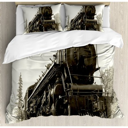 Ambesonne Steam Engine Antique Northern Express Train Duvet Cover Set