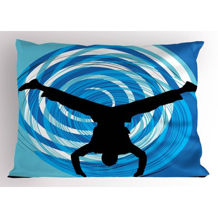 Hip Hop Pillow Sham Boy Doing Head Spin on the Floor Illustration with Abstract Backdrop, Decorative Standard Size Printed Pillowcase, 26 X 20 Inches, Blue Pale Blue Black, by - Backdrop City Hip Hop