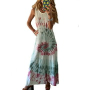 Boho Beach Floral Polka Dot Printed Maxi Dress For Women Casual Ladies Wrap Summer Paisley Flowing Party Sundress Holiday Long Sundress