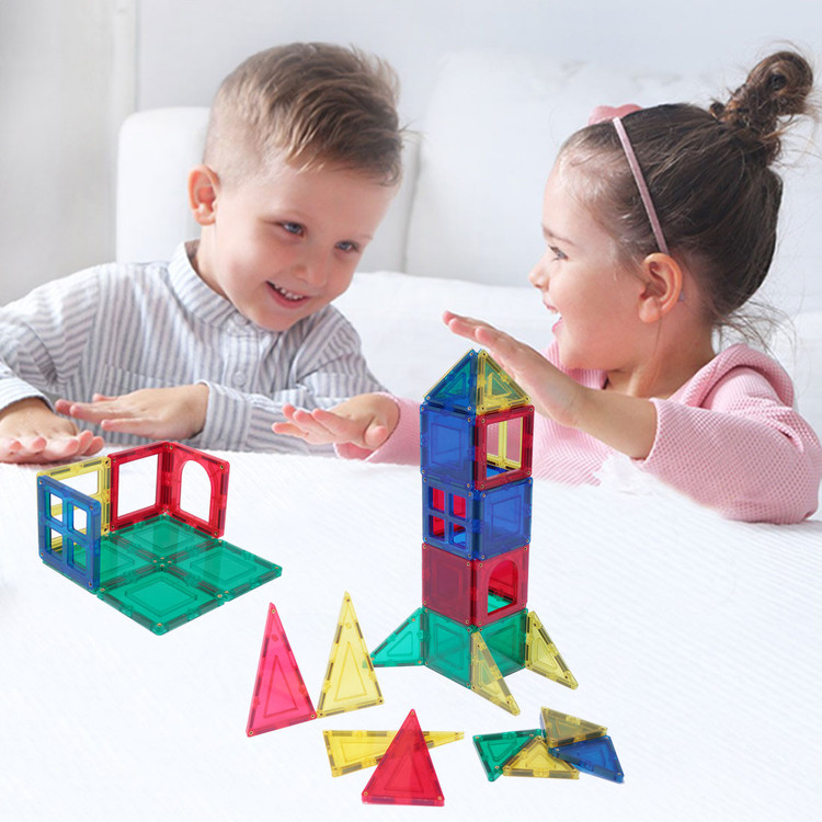 58-Piece Magnetic Building Blocks & Tiles STEM Educational Toy Set w/ Carry Case - Multicolor