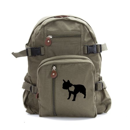 French Bulldog with Heart Dog Heavyweight Canvas Backpack