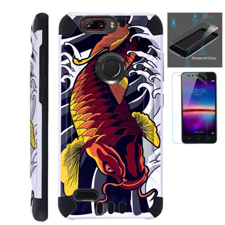wholesale dealer 98569 6b2b5 For ZTE Blade Z Max (Metro PCS) / ZTE ZMax Pro 2 / ZTE Grand X Max 4 / ZTE  Sequoia Case + Tempered Glass Slim Dual Layer Brushed Texture Hybrid TPU ...