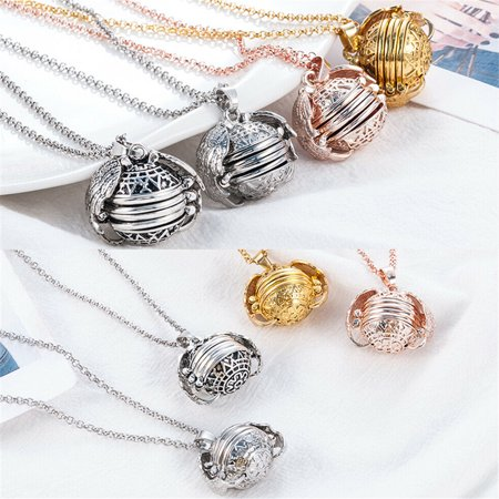 2Pcs Expanding Photo Locket Necklace Pendant Souvenir Angel Wings Gift Jewelry Decoration,Creative Fashion Clothing Accessory for Mother's Day Valentine Birthday Gift ()