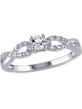 1/4 Carat T.G.W. Created White Sapphire and 1/10 Carat T.W. Sterling Silver Infinity Engagement Ring