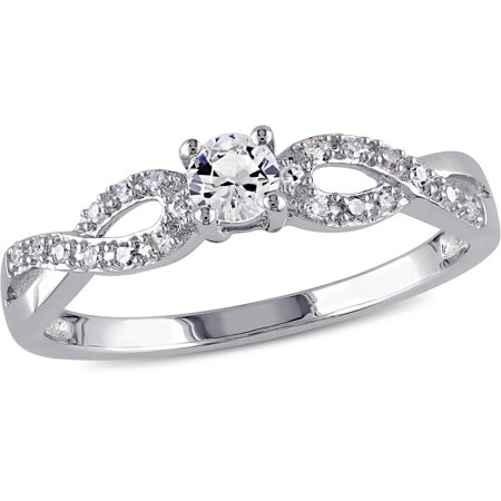 1/4 Carat T.G.W. Created White Sapphire and 1/10 Carat T.W. Sterling Silver Infinity Engagement Ring (Halloween Engagement Rings)