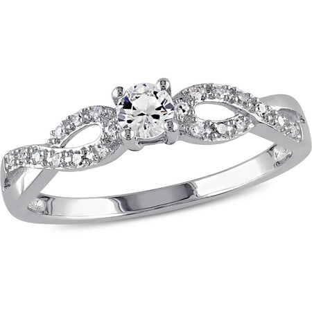 1/4 Carat T.G.W. Created White Sapphire and 1/10 Carat T.W. Sterling Silver Infinity Engagement