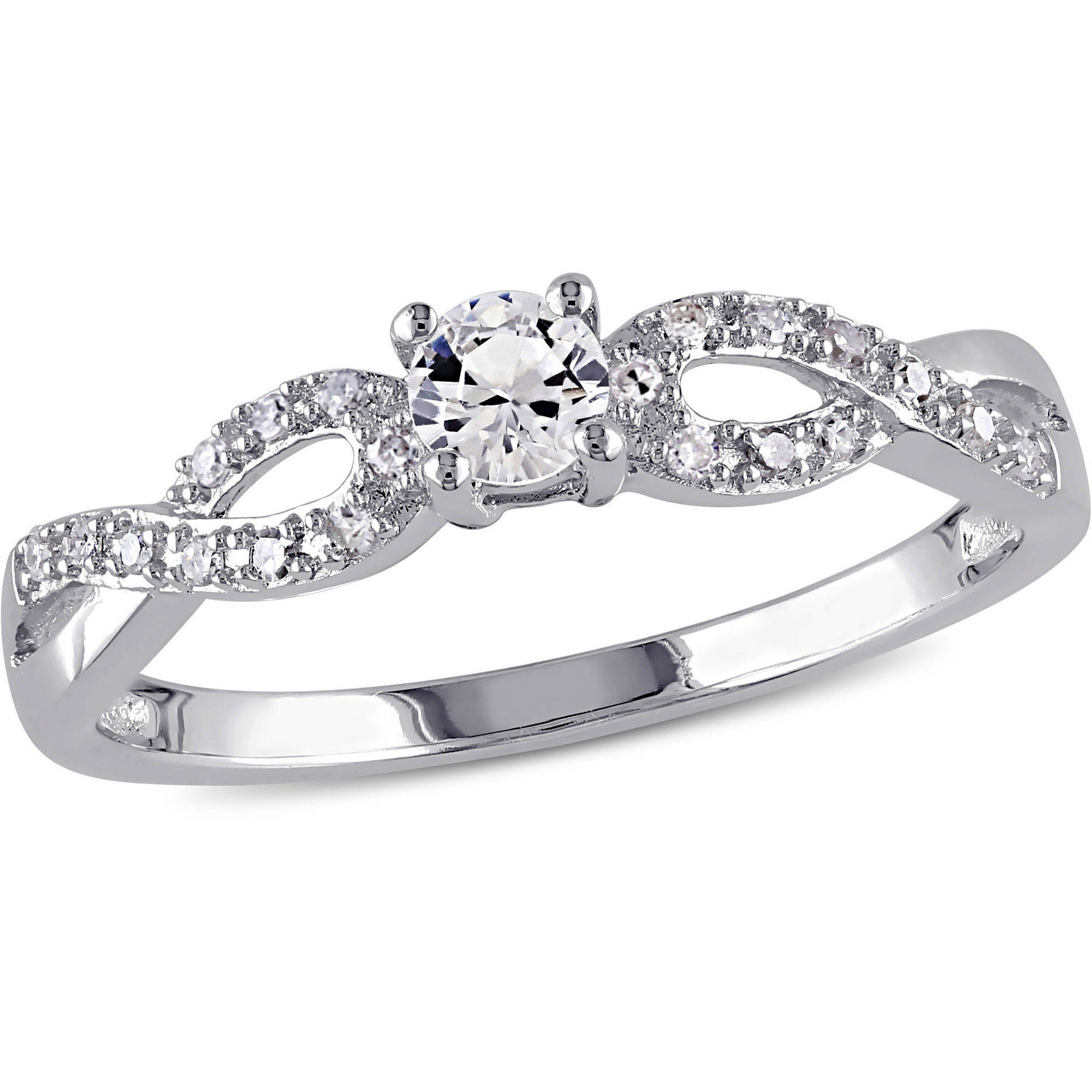 Miabella 1/4 Carat T.G.W. Created White Sapphire and 1/10 Carat T.W. Sterling Silver Infinity Engagement Ring