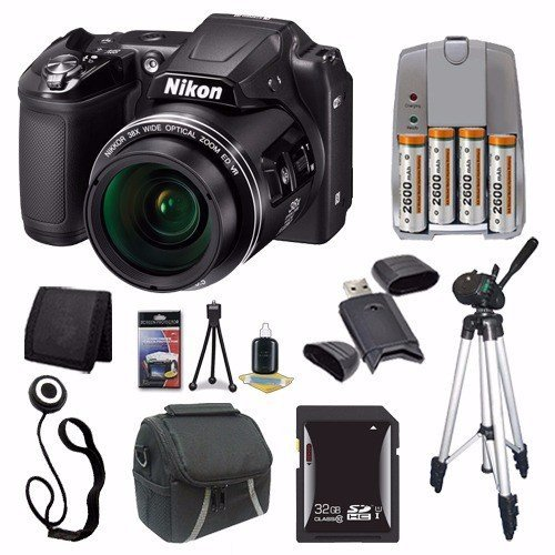 Nikon COOLPIX L840 Digital Camera (Black) (International Model No Warranty) + 4 AA Pack NiMH Rechargeable Batteries and Charger + 32GB SDHC Card + Case + Tripod + Saver Bundle