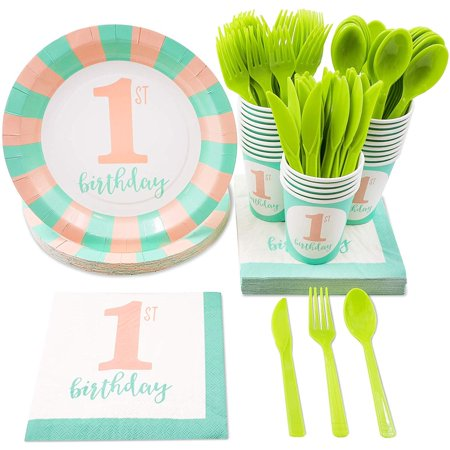 Girl Themed Party (Girl's First Birthday Party Supplies – Serves 24 – Includes Plates, Knives, Spoons, Forks, Cups and Napkins. Perfect Girls 1st Birthday Party Pack for Kids Girl Birthday Themed)
