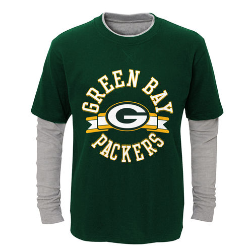 Toddler Green/Heathered Gray Green Bay Packers Fan Gear Definitive Faux Layer Long Sleeve T-Shirt
