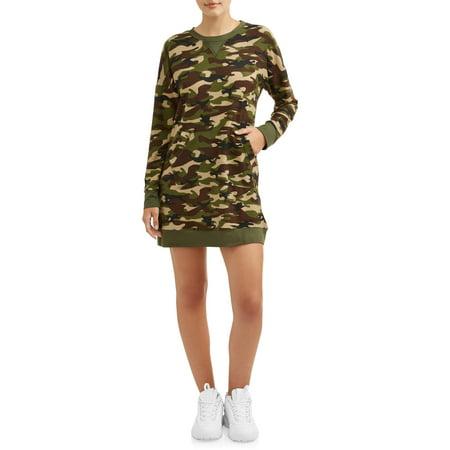 Poof Apparel Juniors Camo Print Sweater Dress ()