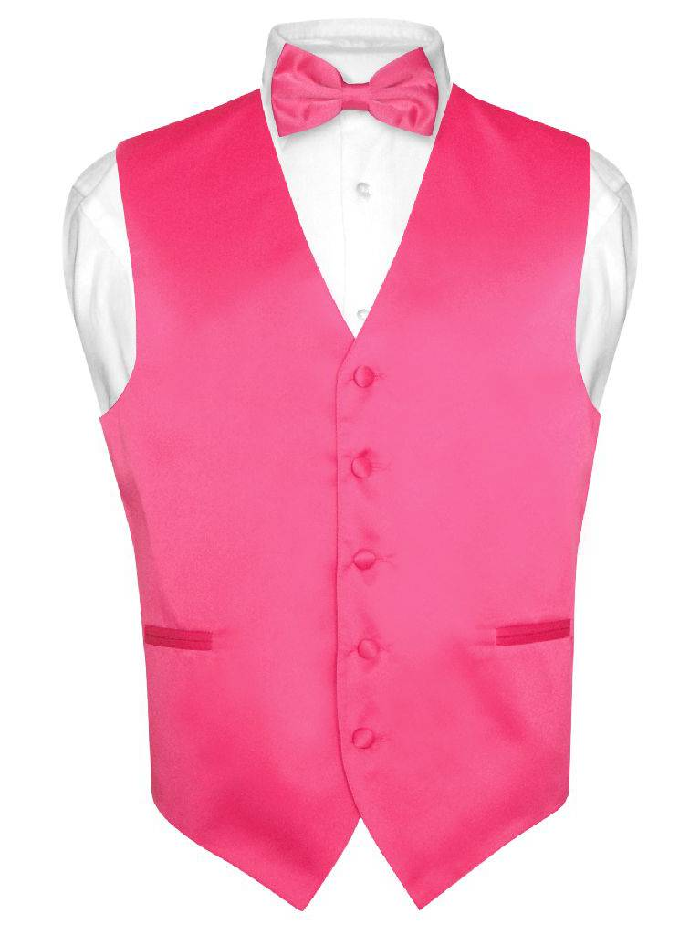 Men's Dress Vest & BowTie Solid HOT PINK FUCHSIA Color Bow Tie Set for Suit Tux