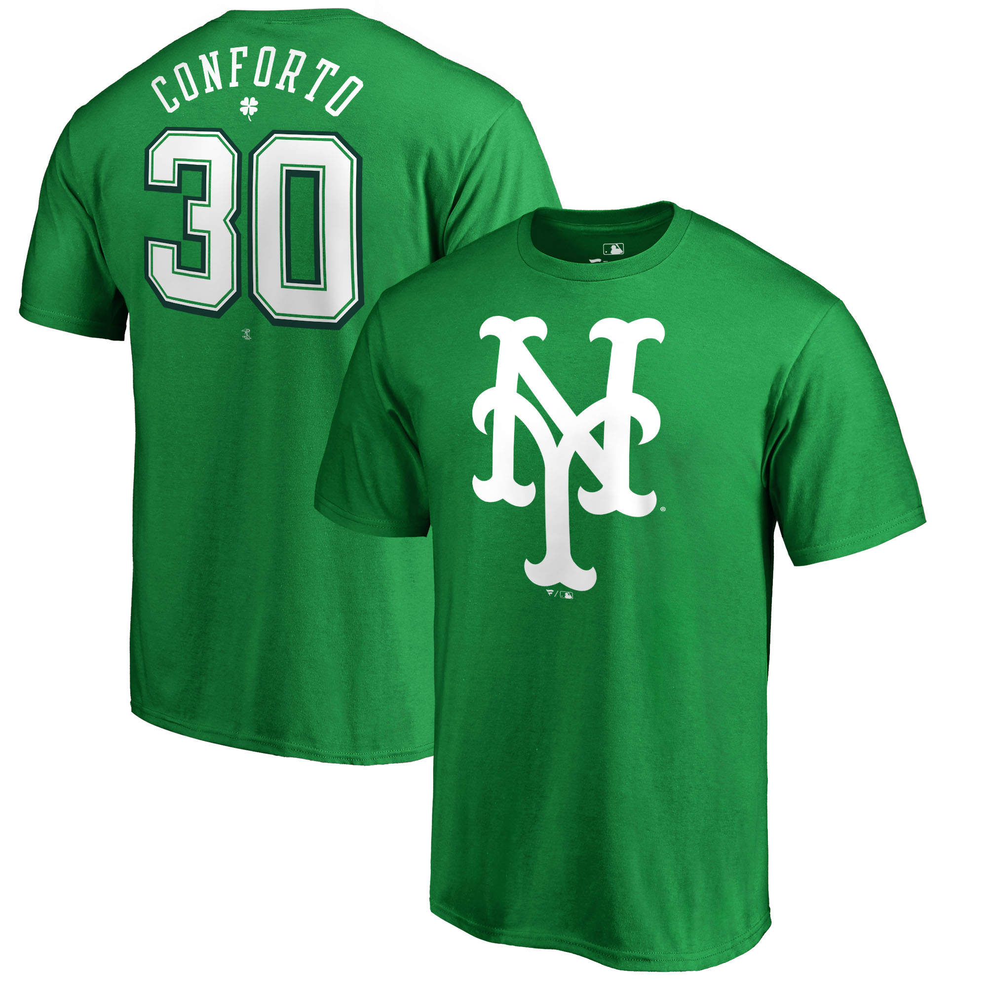 Michael Conforto New York Mets Fanatics Branded 2018 St. Patrick's Day Stack Name & Number T-Shirt - Kelly Green