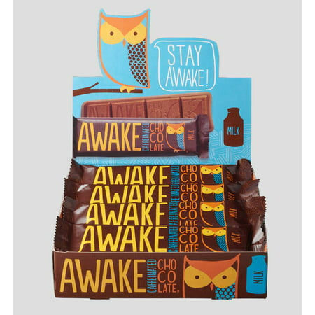 AWAKE Milk Chocolate Caffeinated Candy Bar, 1.55 Oz, 12 Ct