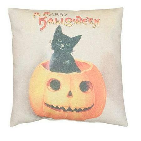 Vintage Cat in Pumpkin A Merry Halloween Decorative Pillow 21223 New