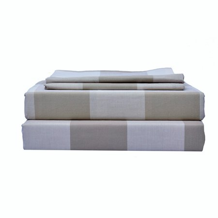 Just Linen 300 Thread Count Yarn Dyed 100% Cotton Damask, Contemporary Checks Brown , Full Bedding Sheet Set with Deep Pocketed Fitted Sheets
