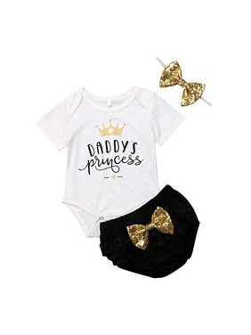 Baby Girl Valentine's Outfit Daddy's Princess Crown Romper Sequin Bowknot Shorts With Headband