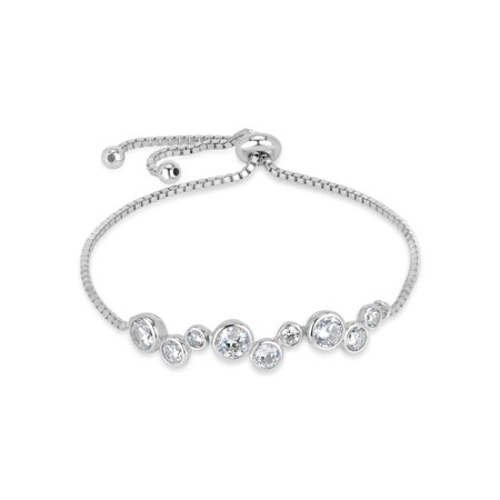 """Round White Cubic Zirconia Sterling Silver Rhodium Plated Swirl Channel Set Adjustable Bolo Bracelet, 10"""""""