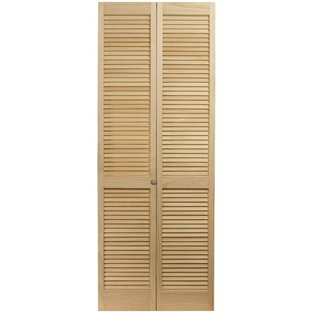 #100 Full Louver Bifold Door, Clear Joints, Unfinished Pine (Unfinished Bi Fold Door)