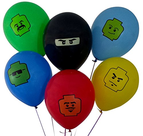 "12"" Party Balloons for Brick Building-Inspired Party, 6 Colors, 6 Fun Characters! 24 Balloons Total - Great Supplement to Your Brick Building Party Supplies. Fill Your Brick Building-Themed Party"