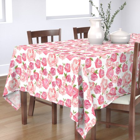 Tablecloth Watercolor Pink Blush Rose Baby Girl Nursery Peony Cotton Sateen ()