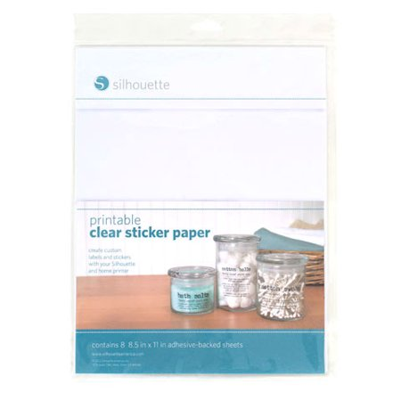 Silhouette printable clear sticker paper 8 5x11 8pk
