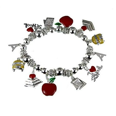 Teacher Stretch Charm Bracelet Appreciation Year End Gift Present School Bus Apple - Charm Stretch Bracelet