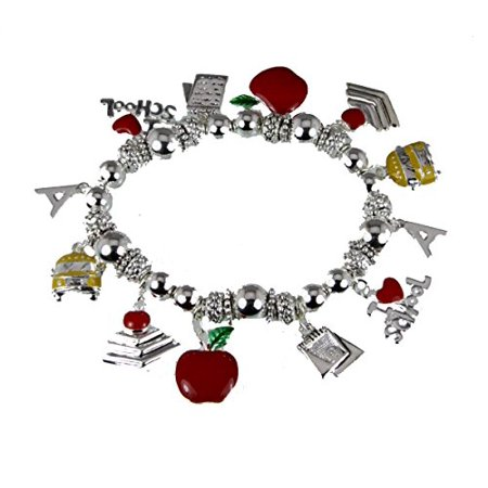 Teacher Stretch Charm Bracelet Appreciation Year End Gift Present School Bus Apple Favorite (Stretch Chart)