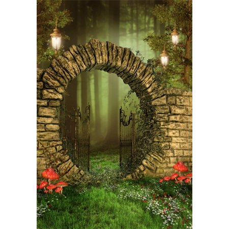 GreenDecor Polyster 5x7ft Dreamy Garden Backdrop Vintage Gate Photography Background Kid Girl Child Artistic Portrait Forest Lamps Mushroom Fairy Tale Photo Shoot Studio Props Video Drop Drape - Dreamy Halloween Backgrounds