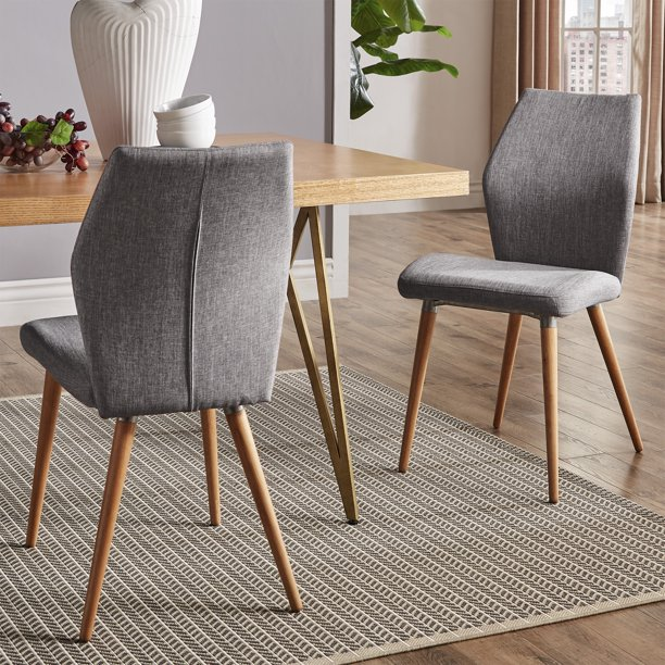 Weston Home Malone Contoured Upholstered Dining Chairs, Set of 2, Grey Linen, Light Oak Finish