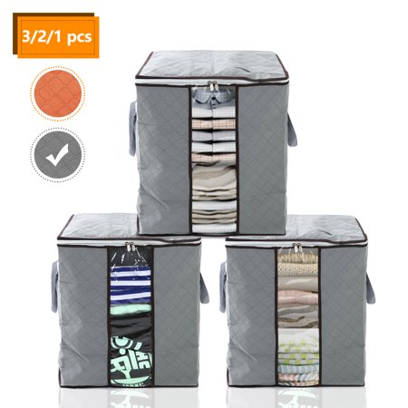 3/2/1Pcs Cloth Storage Bags, EEEKit Foldable Non-Woven Fabric Clothing Garment Storage Bags Organizer Box Pouches for Duvet, Pillow, Blanket, Quilt ()