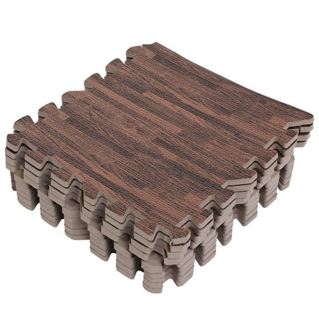 Qillu 9pcs 30X30cm Interlocking Soft EVA Foam Floor Mats Printed Wood Grain Puzzle Mats Protective Flooring For Gym Equipment Kids Play