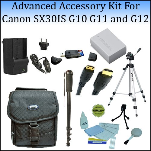 Advanced Accessory Kit For The Canon SX30IS, G10 G11 and G12 Digital Cameras With Professional Tripod,... by Opteka