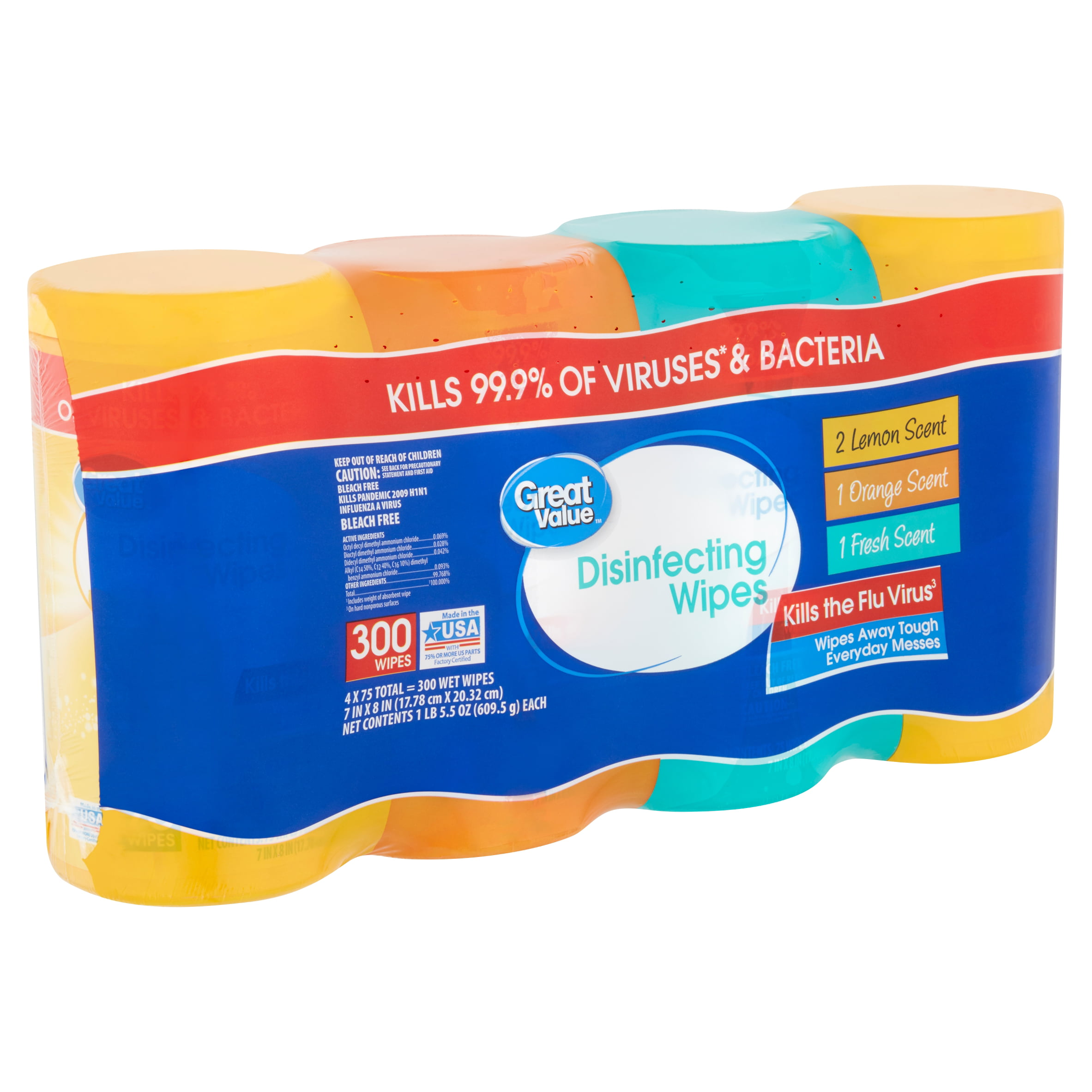 923ee2ce179 Great Value Disinfecting Wipes, 1 lb 5.5 oz, 75 count, 4 pack - Walmart.com