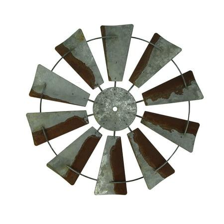 Vintage Finish Rustic Metal Farmhouse Windmill Wall Sculpture 14.5 inch Diameter
