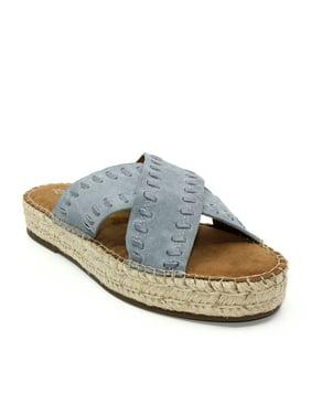 Aerosoles | Rose Gold Suede Espadrilles Platform Sandals | Blue