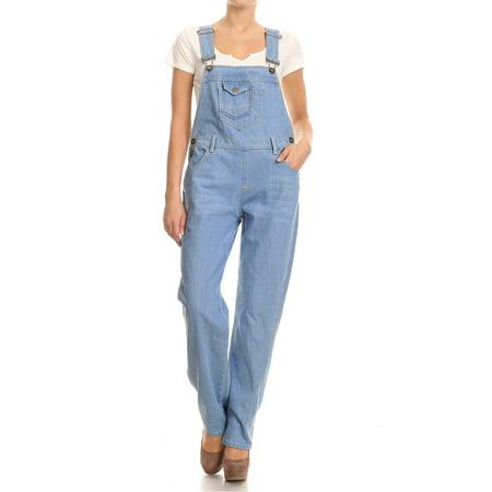 Straight Leg Denim Blue Jeans (Fashion Womens Casual Light Blue Denim Jean Straight Leg Distressed Pocket Bib Overalls )