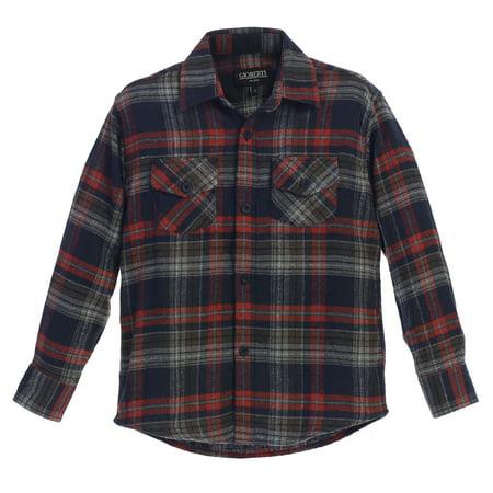 Boys Plaid Flannel Shirt - Gioberti Boys Long Sleeve Plaid Checked Flannel Shirt