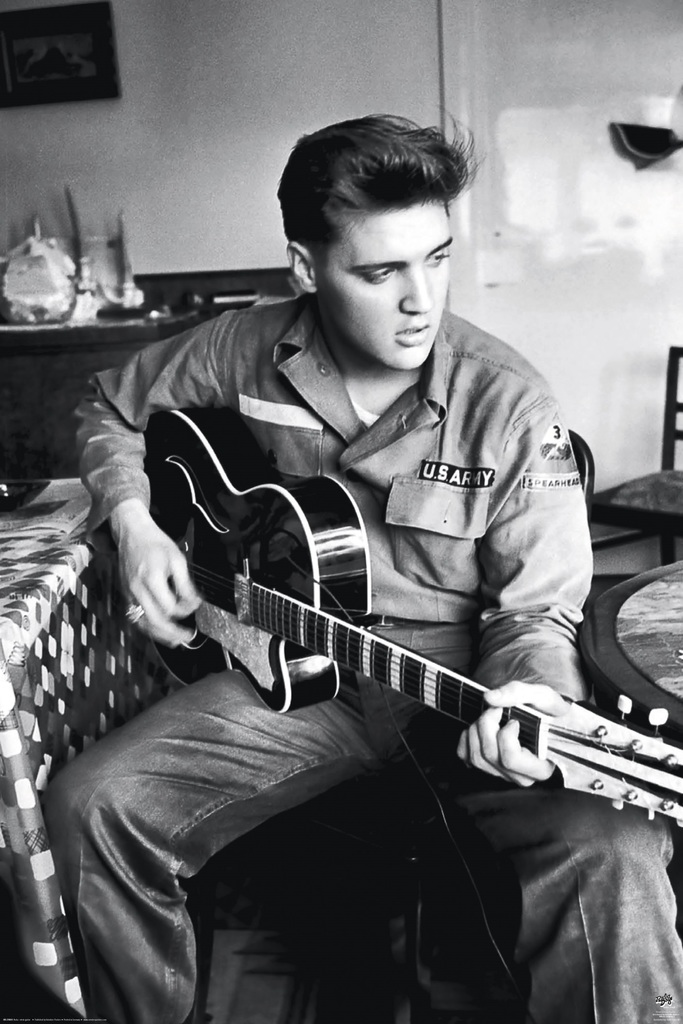 Elvis presley army guitar music poster 24x36 inch