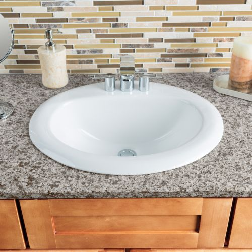 "Miseno MNO2018ODI Oval 20-1/2"" Drop-In Bathroom Sink with 3 Pre-Drilled Faucet H"