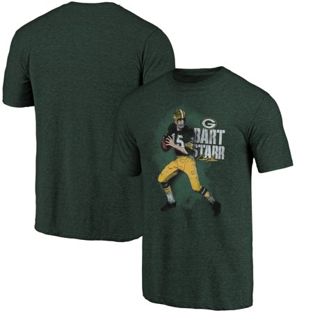 Bart Starr Green Bay Packers NFL Pro Line Retired Player Tri-Blend T-Shirt - Green Bart Starr Autographed Nfl Football