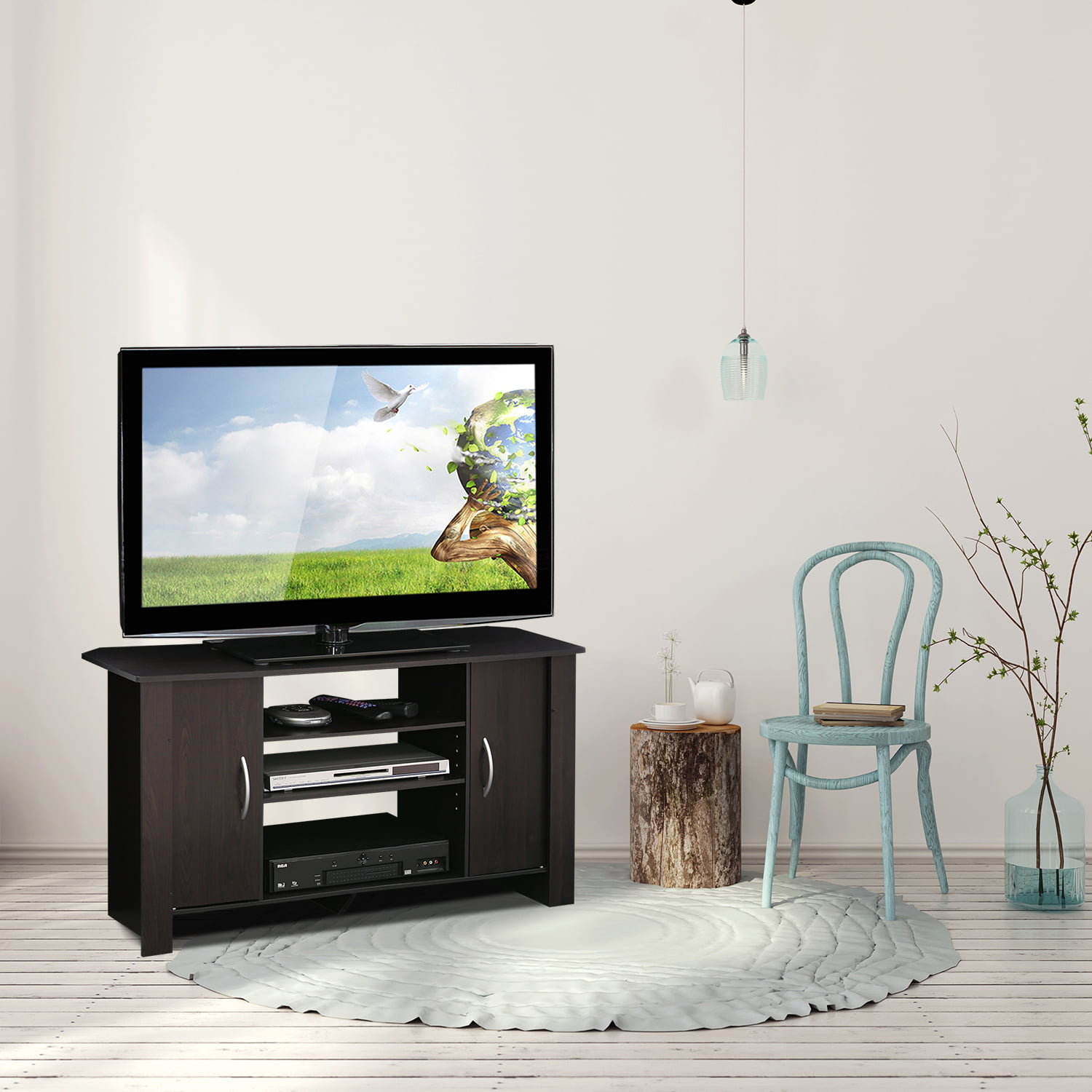 Furinno Econ Espresso TV Stand Entertainment Center for TVs up to 42 ...