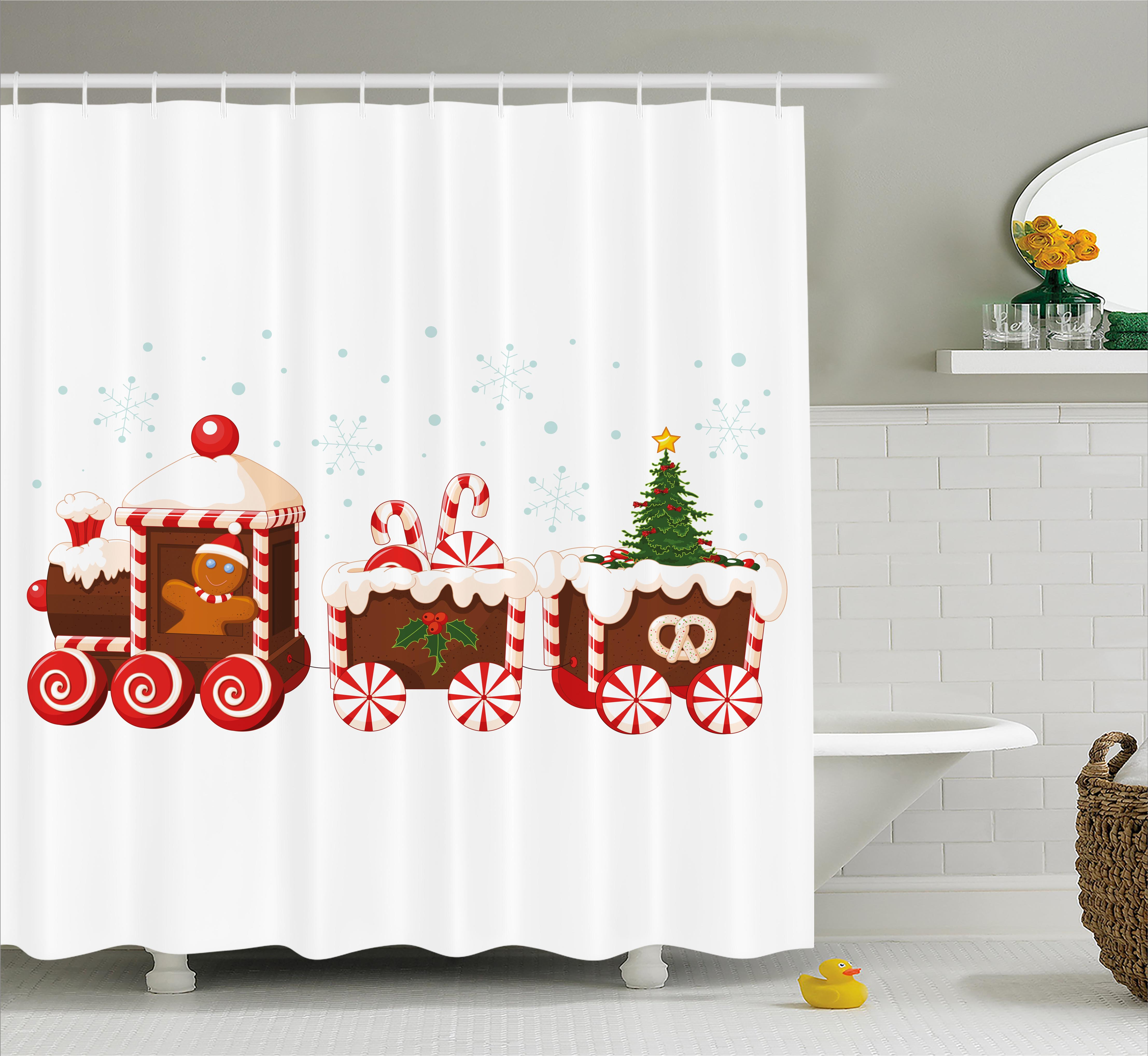 Christmas Shower Curtain Set, Train made of Gingerbread C...
