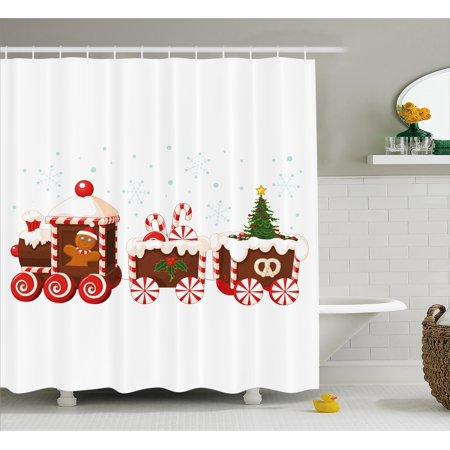 Christmas Shower Curtain Set Train Made Of Gingerbread Cream And Candy Cartoon Toys Snowflakes Gifts Presents Bathroom Decor White Brown Red