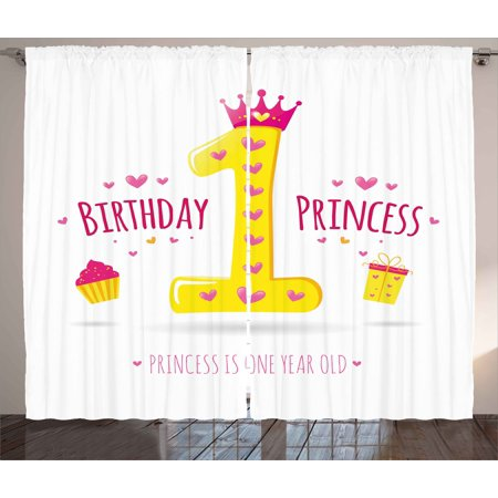 1st Birthday Decorations Curtains 2 Panels Set, Quote Design Princess Girl Theme Party with Hearts Image, Window Drapes for Living Room Bedroom, 108W X 84L Inches, Yellow and Hot Pink, by Ambesonne - Princess Theme Decorations