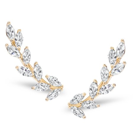 Crystal Leaf Ear Climbers - Simulated Diamond Flower Crawler Cuff Stud Earrings, Safe for Sensitive Ears by Humble Chic NY, Gold-Tone Petals, 10k Gold-Electroplated Brass, Hypoallergenic ()